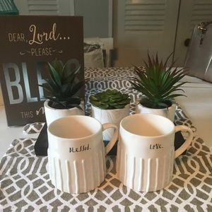New set of Rae Dunn mugs Blessed and love
